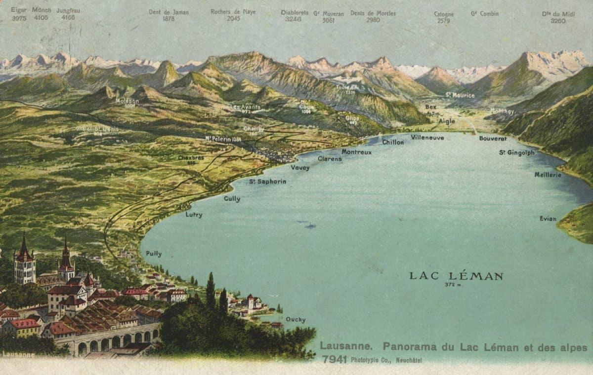 Lausanne. Panorama du Lac Léman et des Alpes © Phototypie Co., Neuchâtel, carte datée de 1909