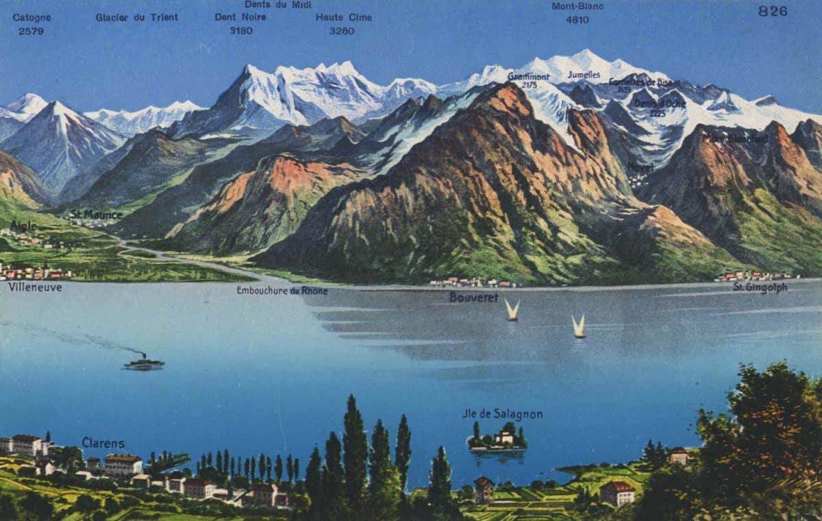 Carte postale. Vue panoramique, Lac Léman et l'île de Salagnon