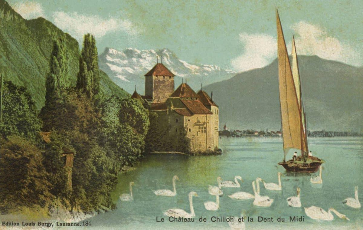 Le château de Chillon et la Dent du Midi, © Edition Louis Burgy, Lausanne, carte datée de 1916