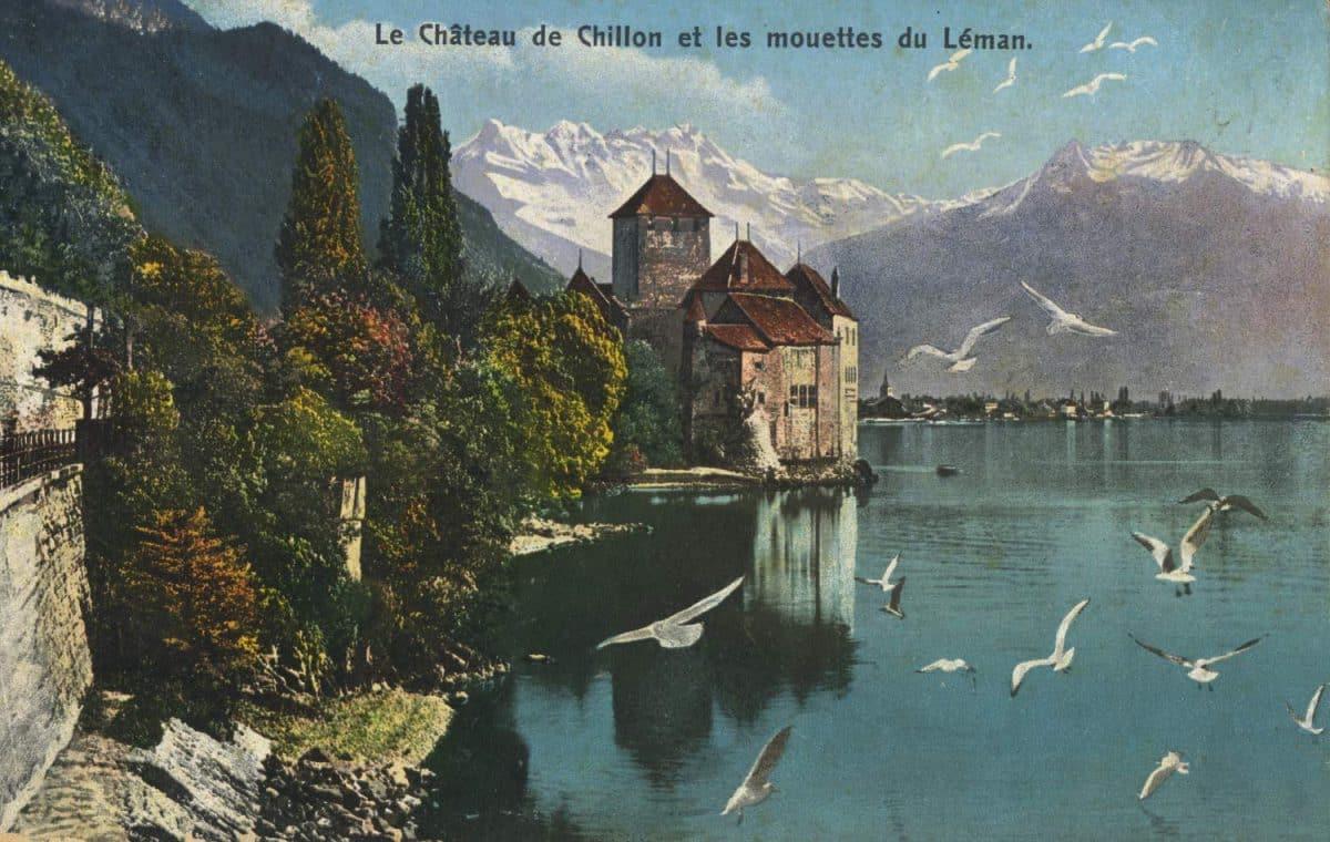 Le château de Chillon et les mouettes du Léman, © Editions Louis Burgy, Lausanne, carte datée de 1911