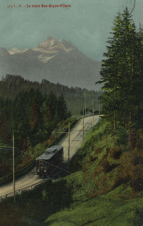 Le train Bex-Gryon-Villars. © L. Butner, Phot. édit., Villars-Chesières, carte datée de 1911