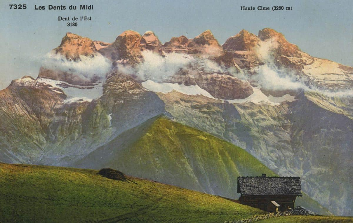 Les Dents du Midi © Phototypie co., Neuchâtel, carte datée de 1929
