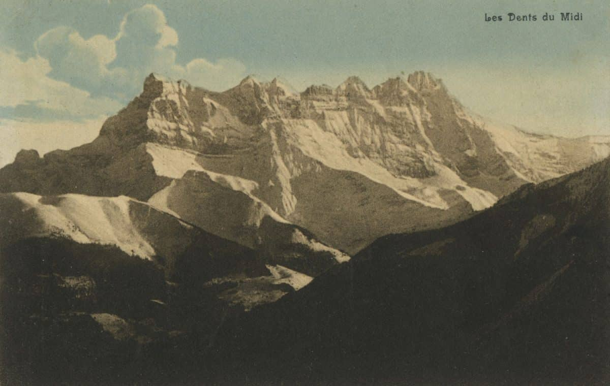 Les Dents du Midi © S.A. Schnegg & Co Edit. Art. Lausanne, carte datée de 1913