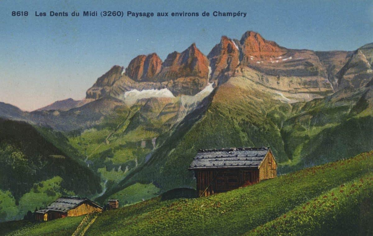 Carte postale. Les Dents du Midi (3260). Paysage aux environs de Champéry