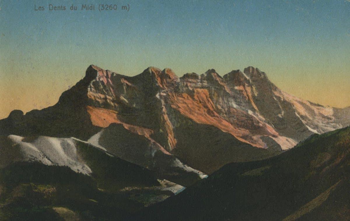Les Dents du Midi (3260m) © Edit. Art. S.A. A. Schnegg, Lausanne, carte datée de 1913