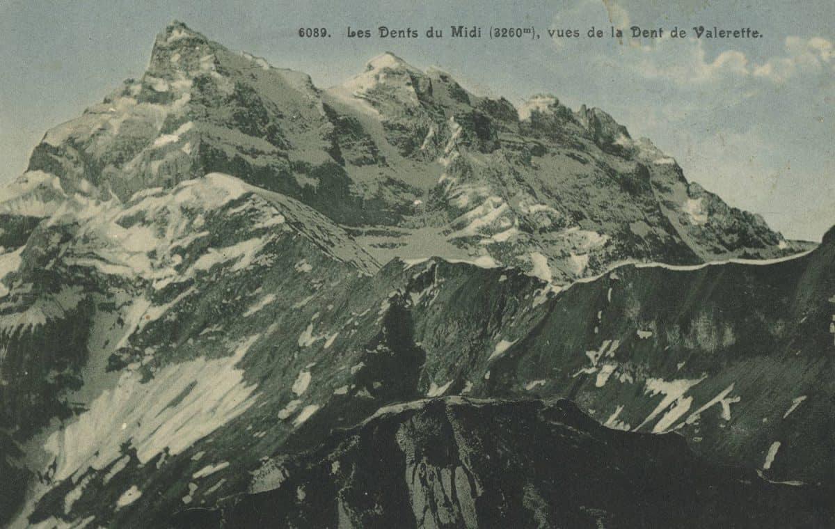 Les Dents du Midi (3260m), vues de la Dent de Valerette © Robert E. Chapallaz. Editions artistiques, Lausanne, carte datée de 1913