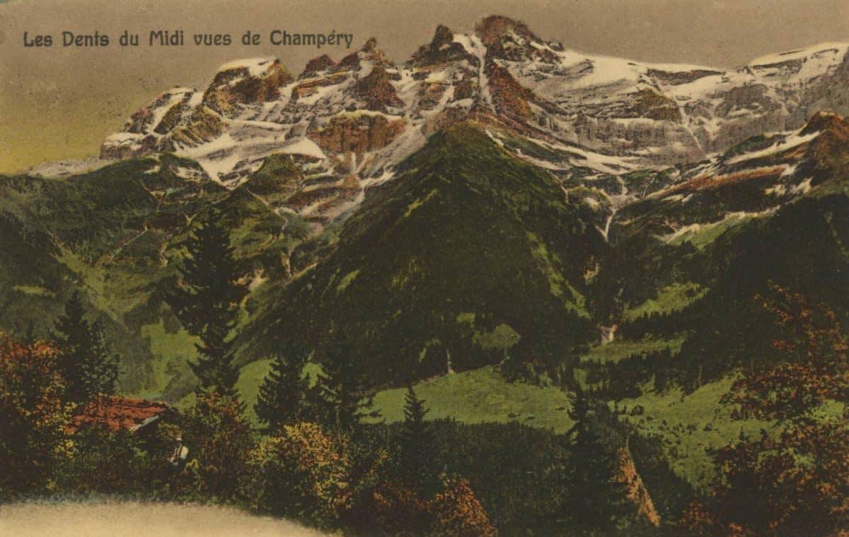 Les Dents du Midi vues de Champéry © Ch. Montangero Editeur Champéry, carte datée de 1923
