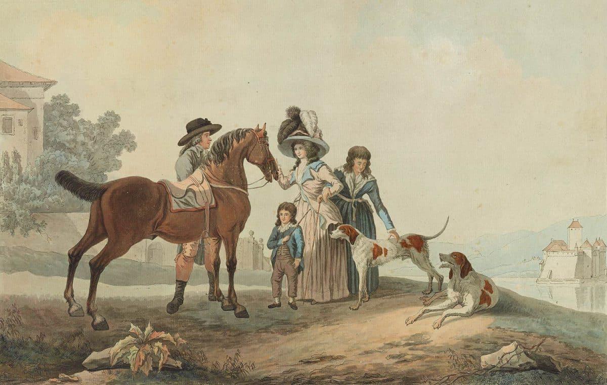 Les environs du château de Chillon. Louis-Auguste Brun (1758 - 1815), vers 1790, collection Gugelmann