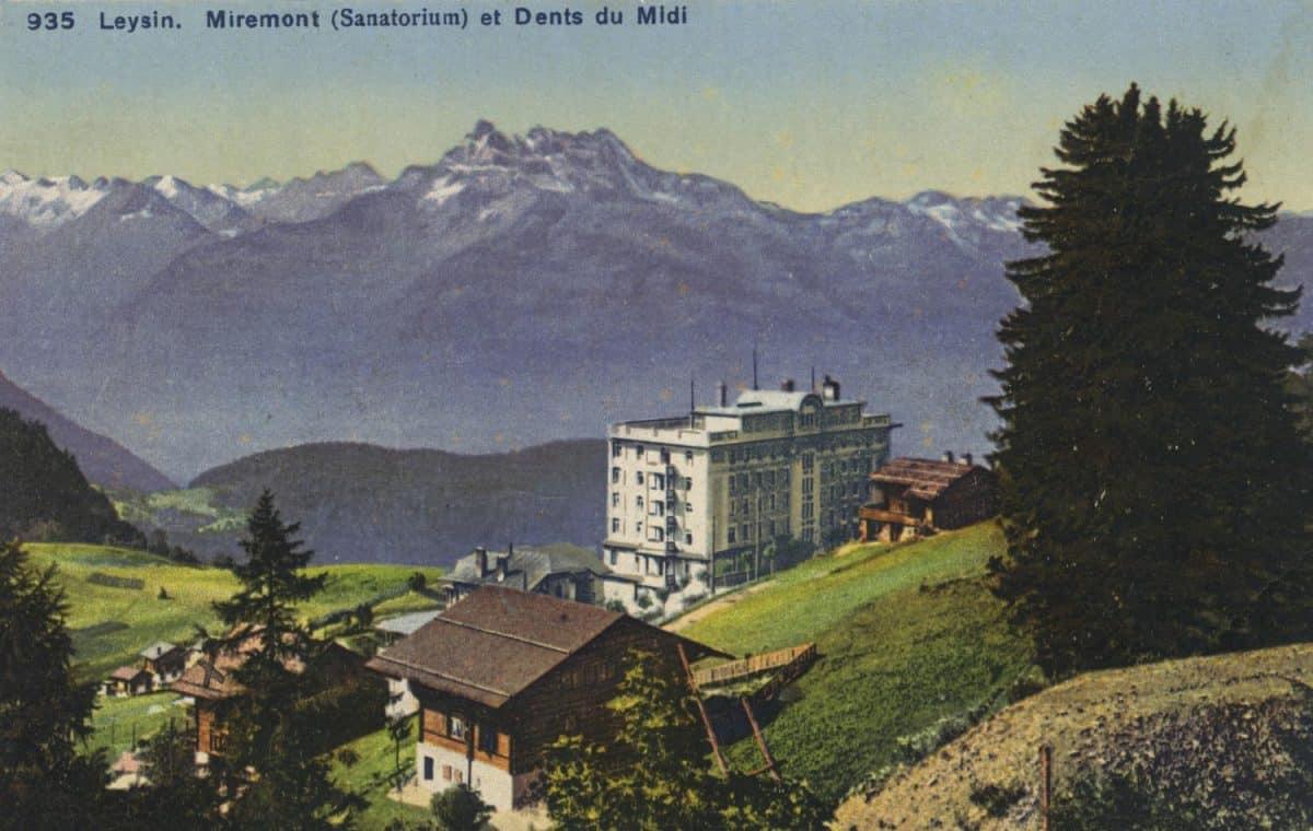 Carte postale. Leysin, Miremont (Sanatorium) et Dents du Midi