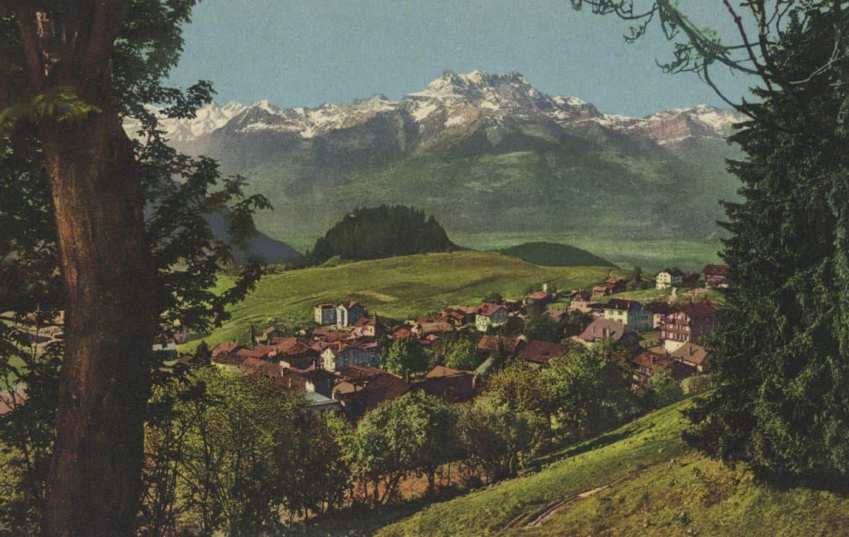 Carte postale. Leysin et les Dents du Midi