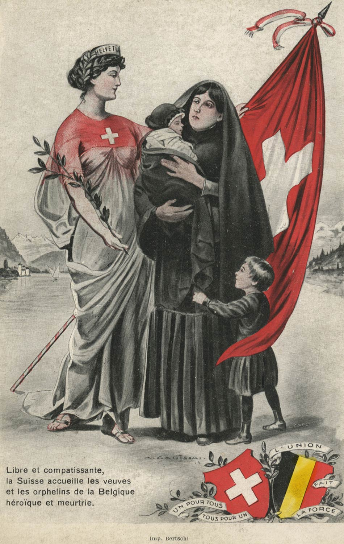 Libre et compatissante, la Suisse accueille les veuves et les orphelins de la Belgique héroïque et meurtrie © Edition Rojoux & Schaufelberger, Genève