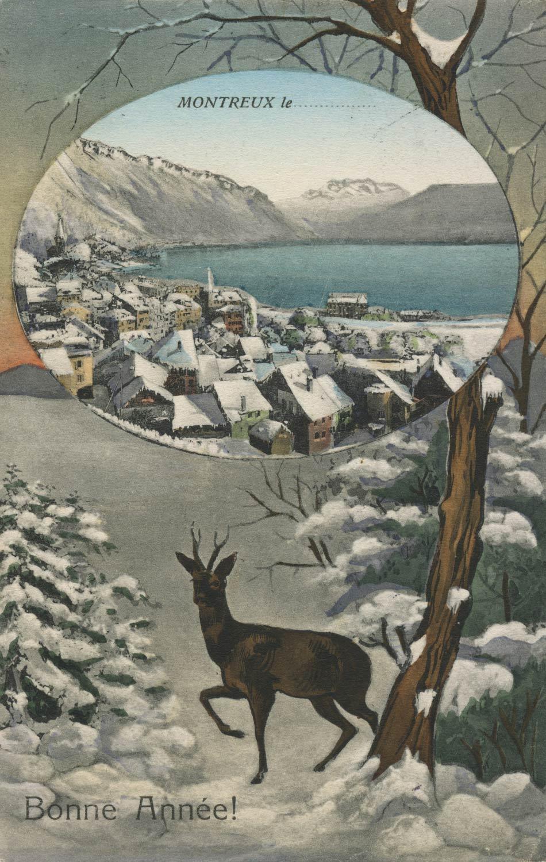 Montreux. Bonne Année! © Editeur, Timothée Jacot, Neuchâtel, carte datée de 1908