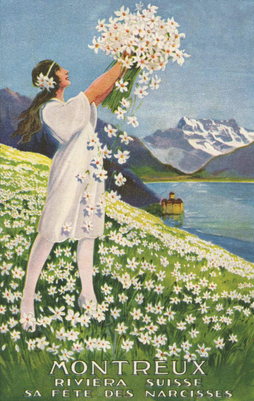 Montreux, Riviera - Suisse - Sa fête des narcisses © Edition A. Gardel, Montreux, carte datée de 1923
