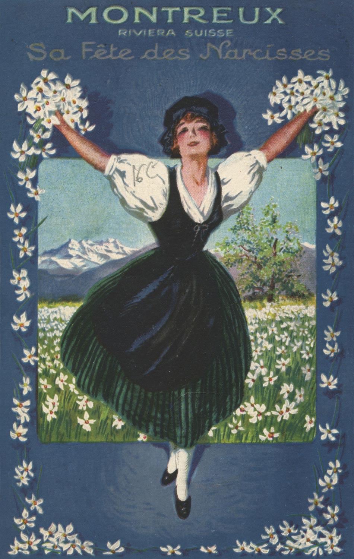 Montreux, Riviera - Suisse - Sa fête des narcisses © Edition A. Gardel, Montreux, carte datée de 1925