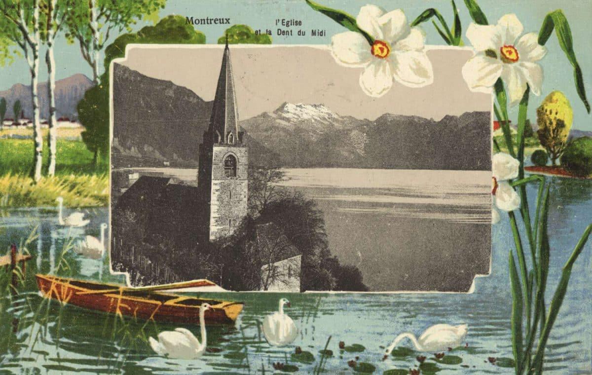 Montreux, l'église et la Dent du Midi. Carte datée de 1908