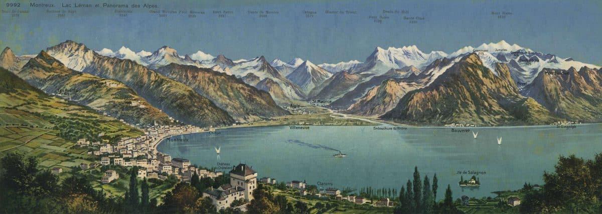 Montreux. Lac Léman et panorama des Alpes