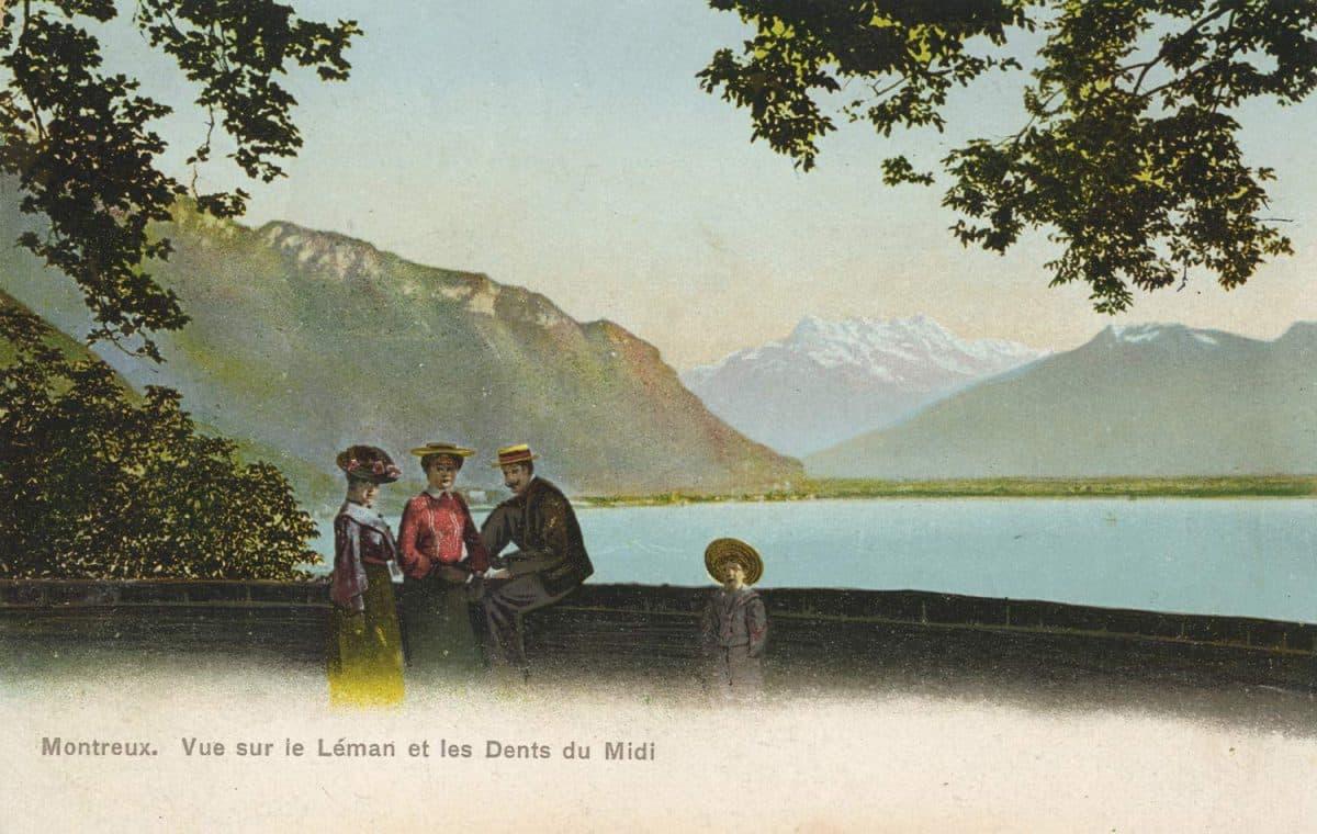 Montreux. Vue sur le Léman et les Dents du Midi © Phototypie Co., Neuchâtel, carte datée de 1911