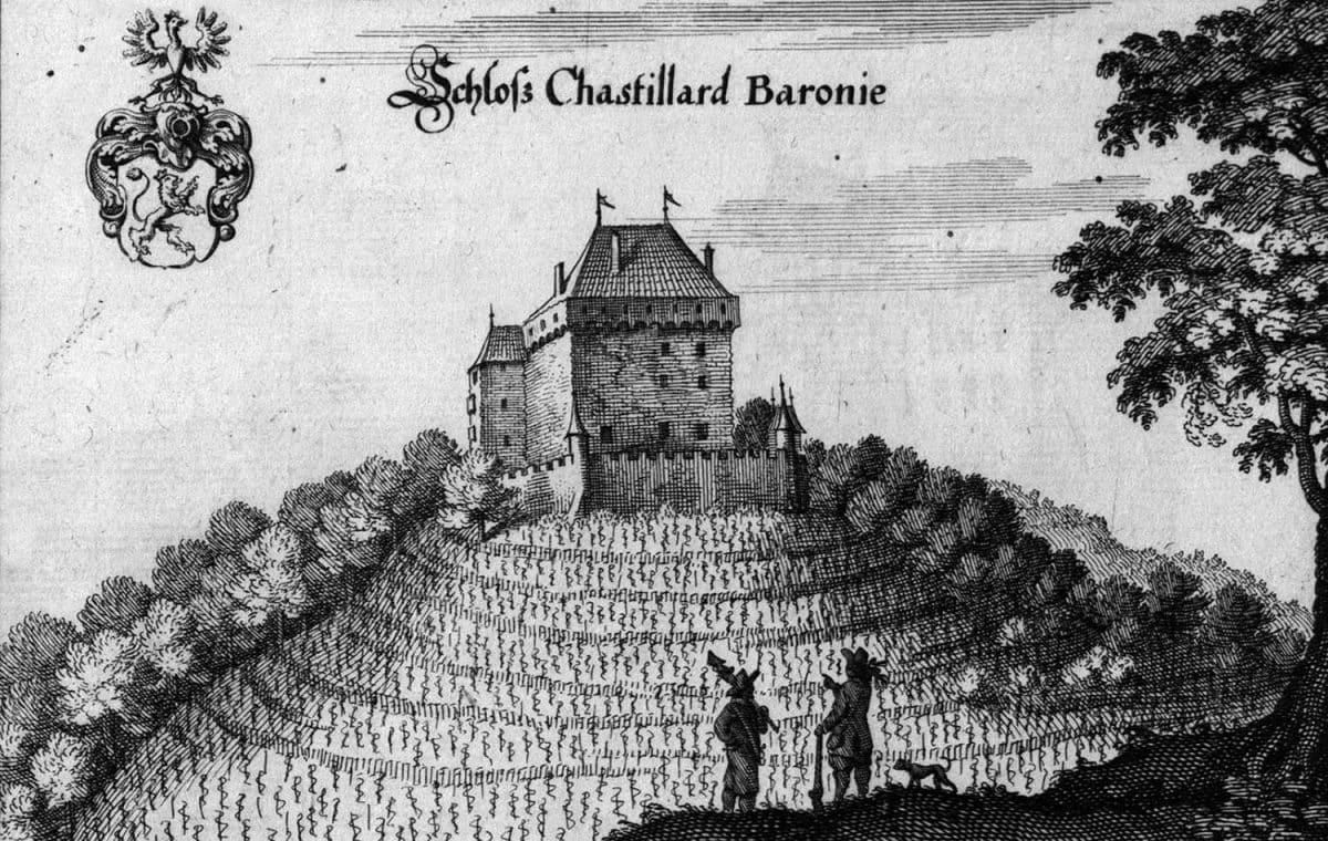 Gravure. Schloss Chastillard Baronie