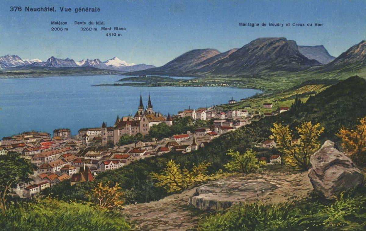 Neuchâtel. Vue générale © Phototypie Co., Neuchâtel, carte datée de 1933