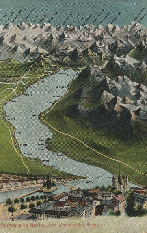 Panorama de Genève, Lac Léman et les Alpes © Artist. Atelier H. Guggenheim & Co., Editeurs, Zürich, carte datée de 1910
