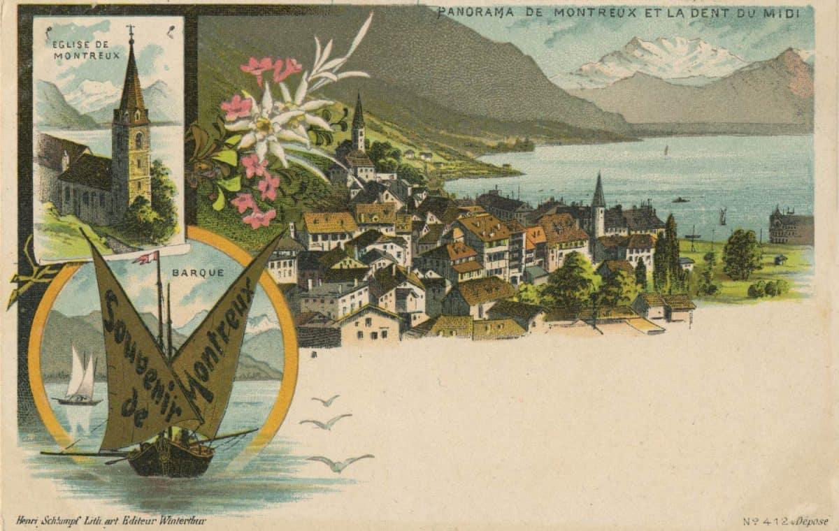 Panorama de Montreux et la Dent du Midi © Henri Schlumpf, litho. art. Editeur, Winterthur