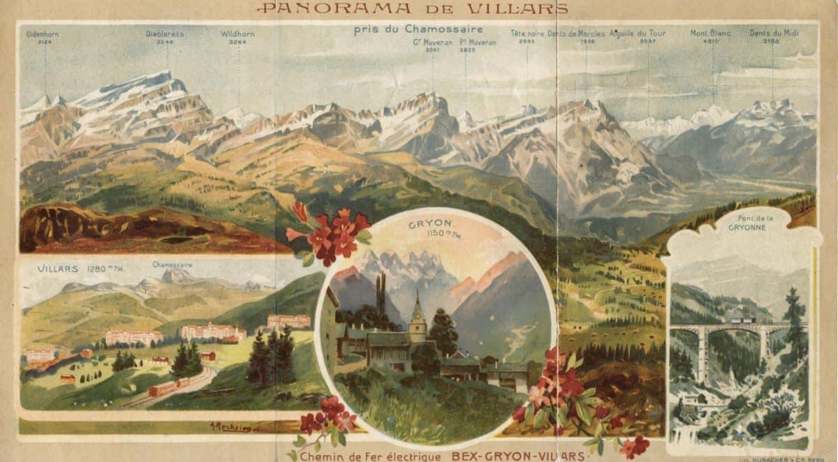 Dépliant. Panorama de Villars. Chemin de fer électrique Bex-Gryon-Villars