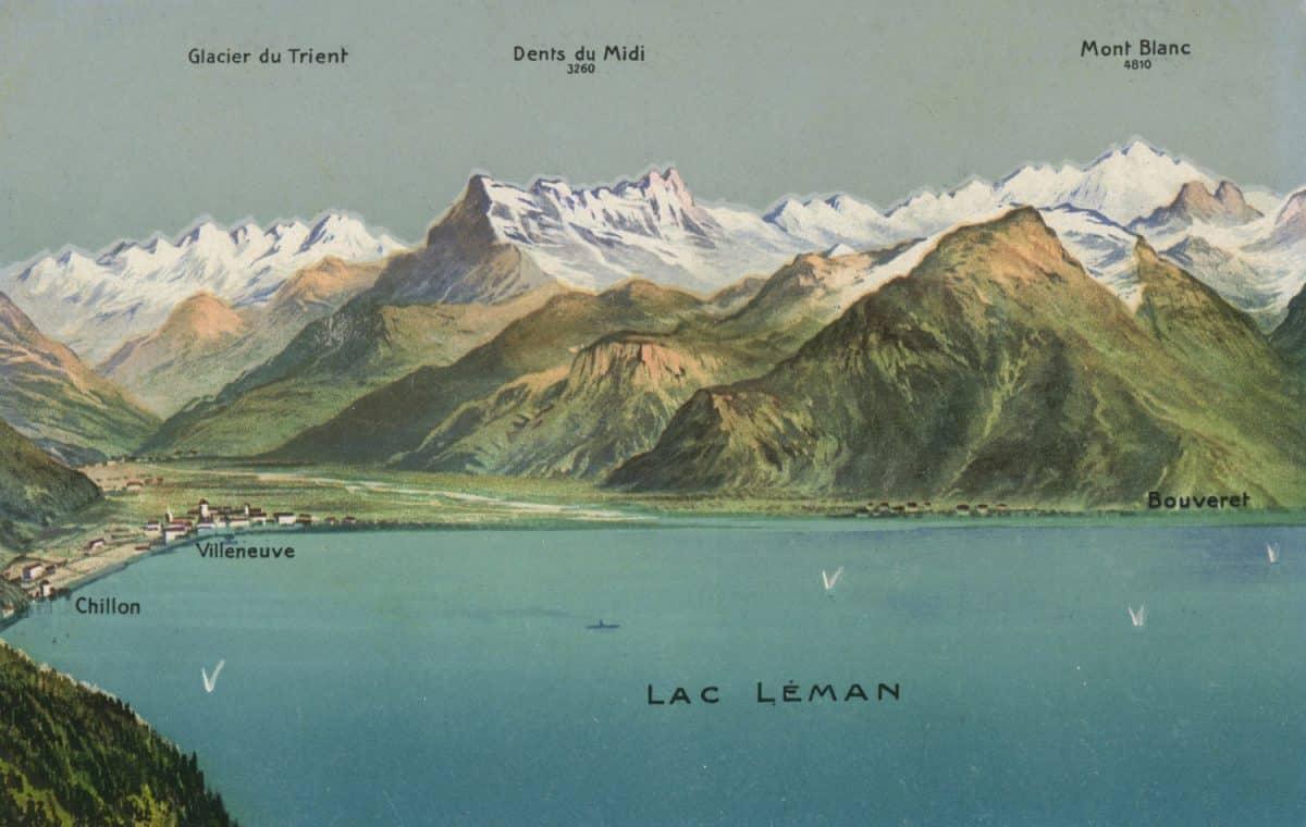 Carte postale, Panorama des Alpes vu depuis Caux