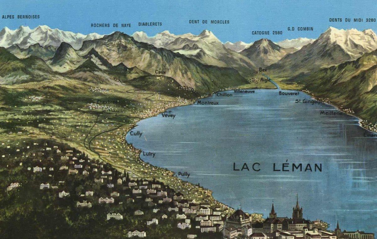 Panorama du Lac Léman © AF Editions Sartori Fils, Genève - Versoix, carte datée de 1962