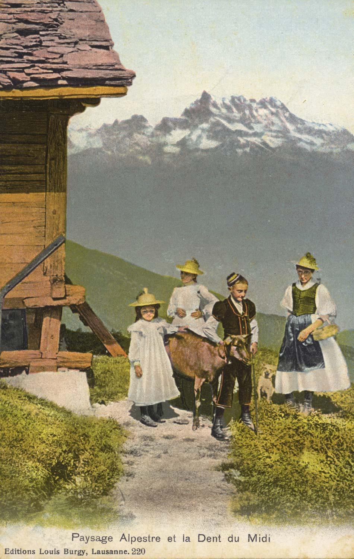 Paysage alpestre et la Dent du Midi © Editions Louis Burgy, Lausanne