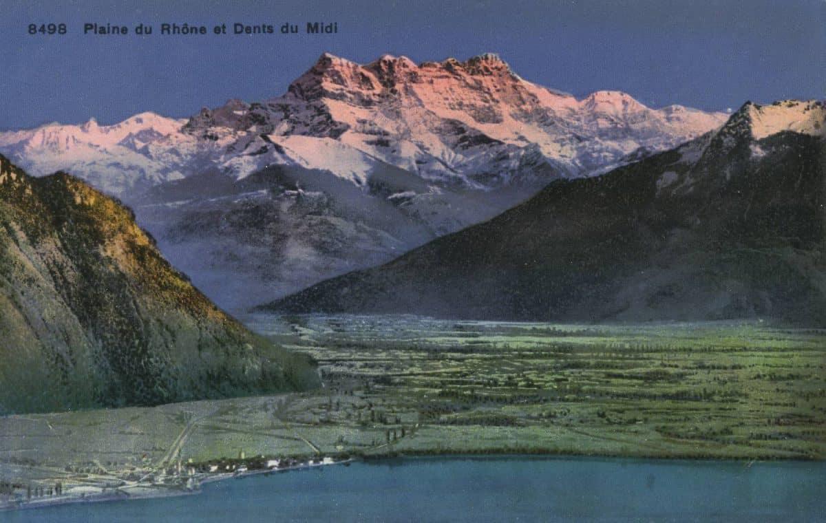Plaine du Rhône et Dents du Midi © Phototypie Co., Neuchâtel, carte datée de 1927