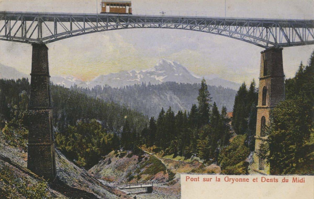 Pont sur la Gryonne et Dents du Midi. © H.G. & Co, carte datée de 1907