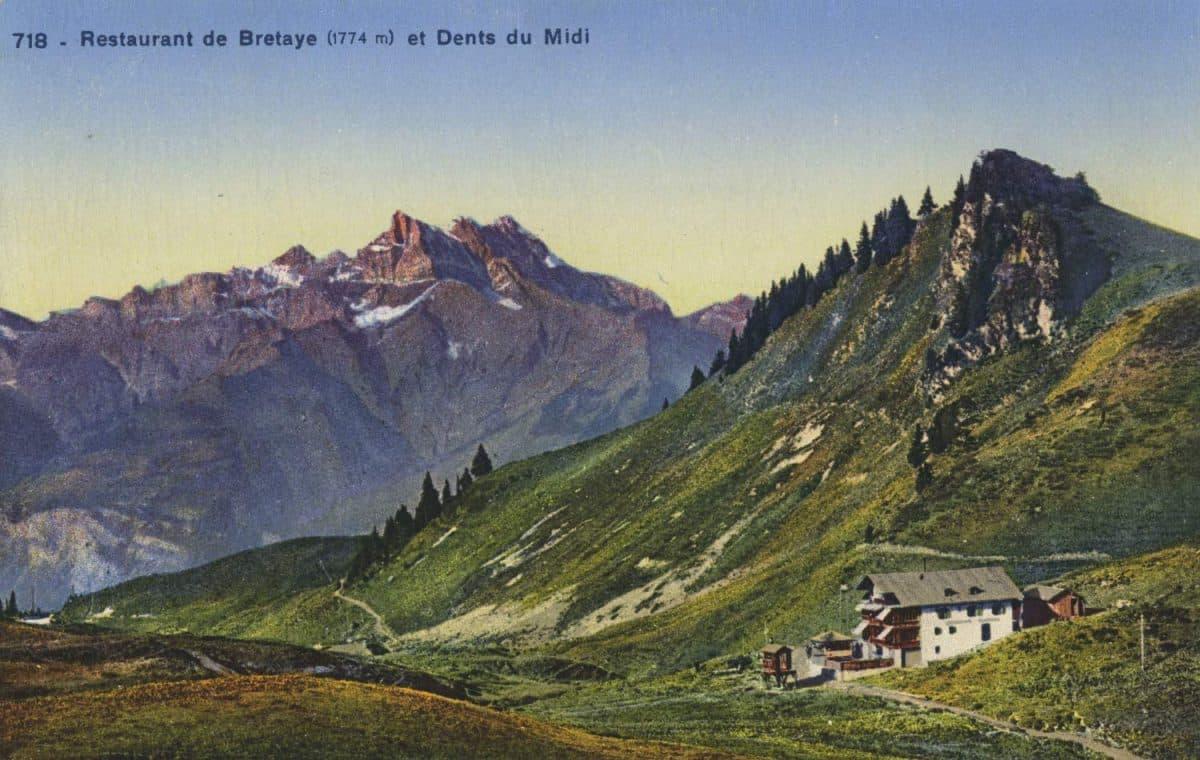 Restaurant de Bretaye (1774) et Dents du Midi © Société Graphique Neuchâtel