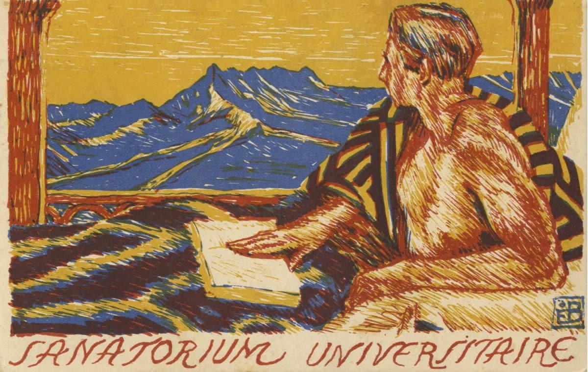 Carte postale. Sanatorium Universitaire, Leysin, oeuvre d'entraide des Universités suisses et du Polytechnicum fédéral