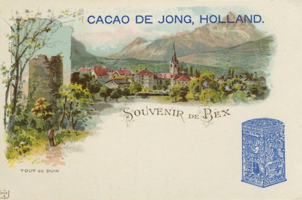 Carte postale, Souvenir de Bex, Cacao de Jong, Holland