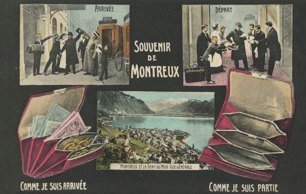 Carte postale, Souvenir de Montreux. Comme je suis arrivée, comme je suis partie