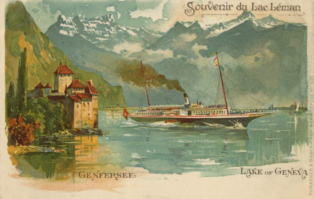 Souvenir du Lac Léman, Genfersee, Lake of Geneva © Hubacher & Biedermann, Bern