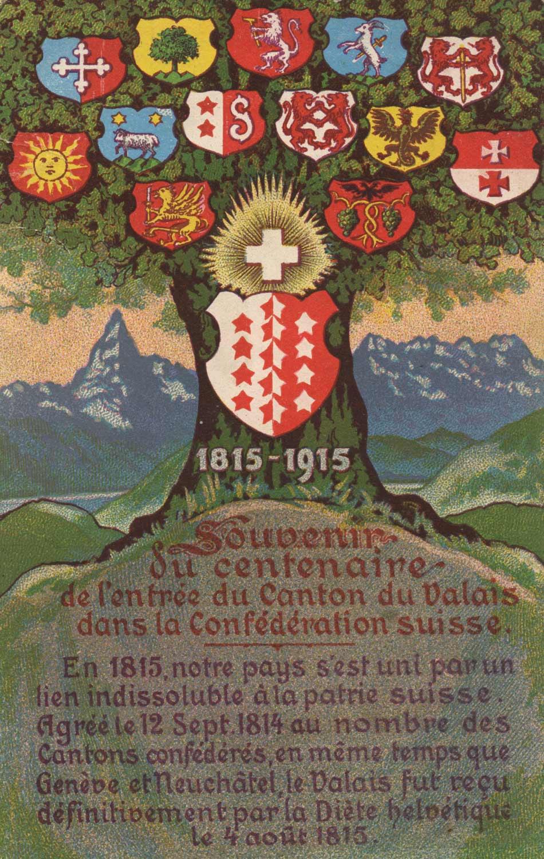 Souvenir du centenaire de l'entrée du canton du Valais dans la Confédération Suisse