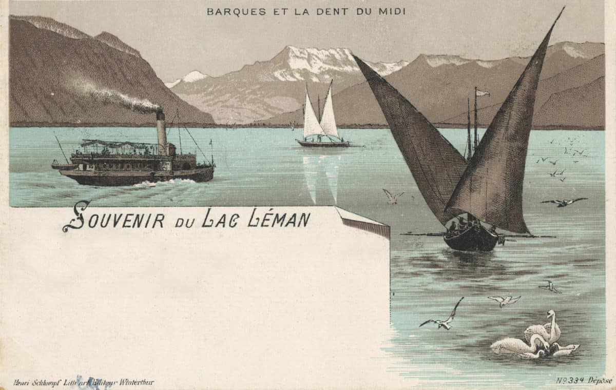 Souvenir du lac Léman, Barques et la Dent du Midi © Henri Schlumpf, litho. art. Editeur, Winterthur