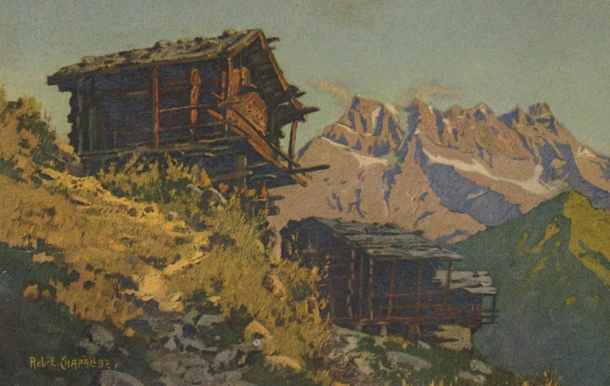 Carte postale, peinture. Sur Champéry et les Dents du Midi
