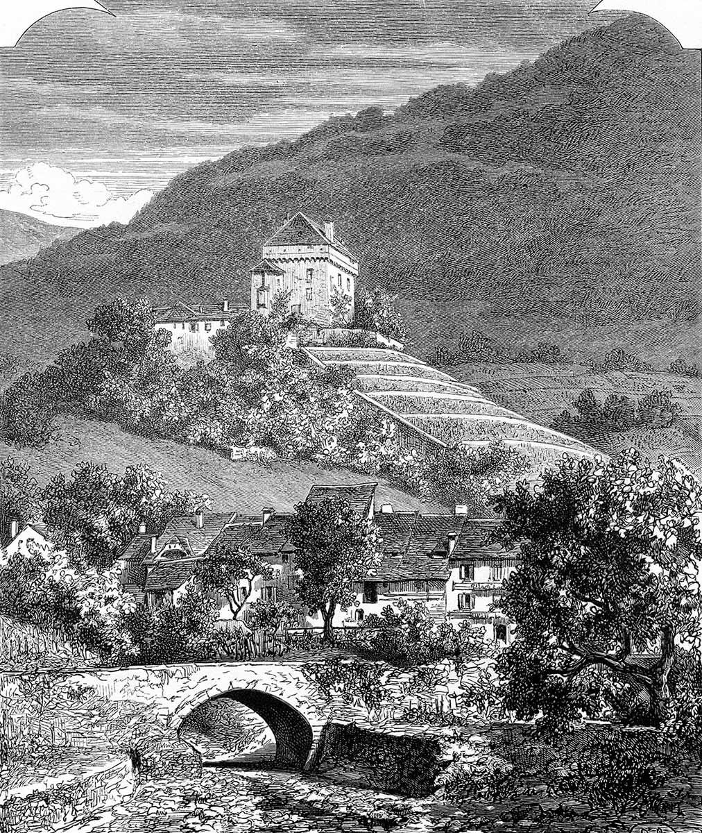 Gravure. Tavel et le château de Châtelard près Clarens