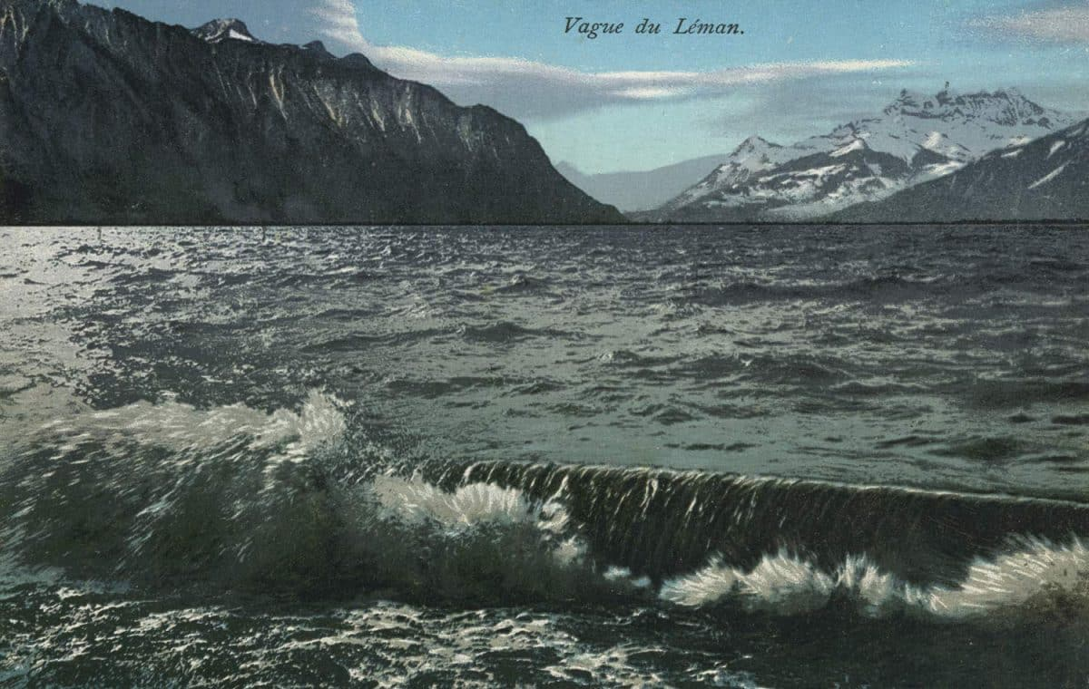 Vague du Léman © E.R.N., carte datée de 1934