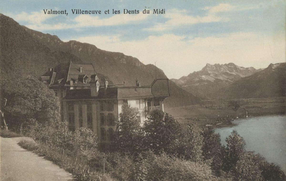 Valmont, Villeneuve et les Dents du Midi © Seal Edit d'Art. R.E. Chapallaz fils, Lausanne, carte datée de 1925