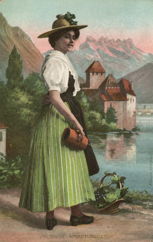 Vaudoise, Waadtländerin © A. Martin, Phot., Bex, carte datée de 1906