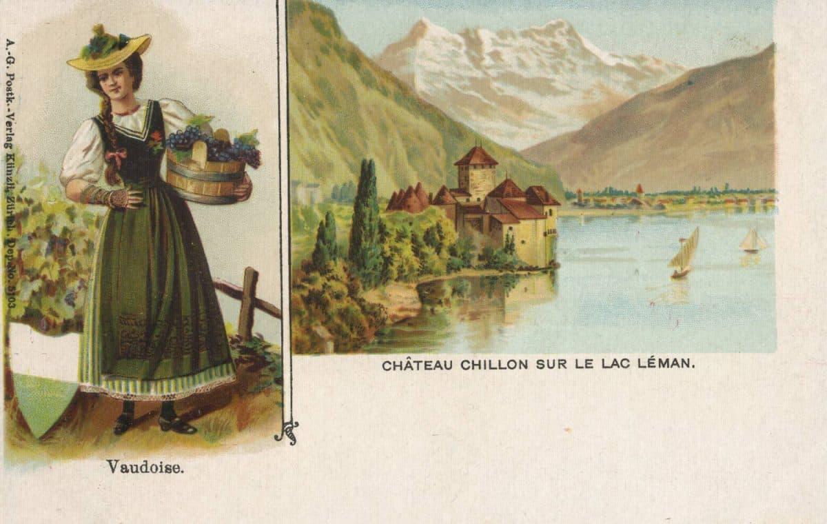Vaudoise. Château de Chillon sur le Lac Léman © A.-G. Postk-.Verlag Künzli, Zürich