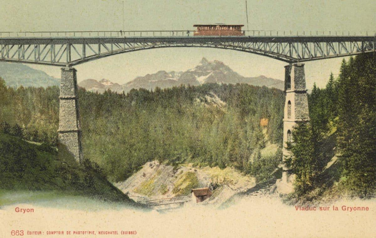 Carte postale. Viaduc sur la Gryonne