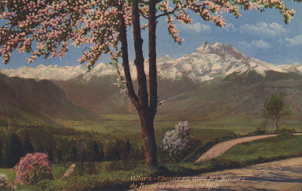 Villars - Chesières, avec les glaciers du Trient et les Dents du Midi © Editions A.G. Kunz, Villars-sur-Bex