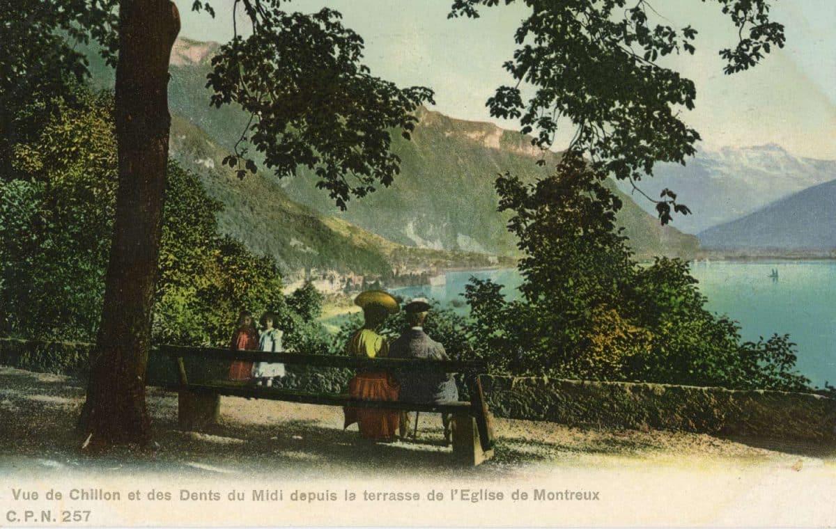 Vue de Chillon et des Dents du Midi depuis la terrasse de l'Eglise de Montreux © C.P.N.