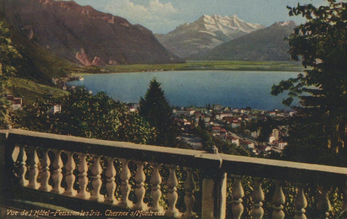 Vue de l'Hôtel-Pension les Iris. Chernex sur Montreux © Guggenheim & Co., Editeurs, Zürich, carte datée de 1937