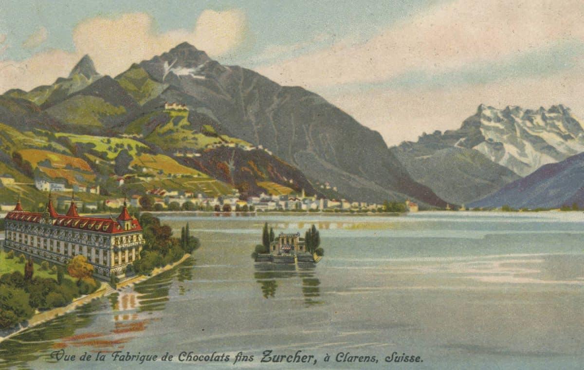Carte postale. Vue de la fabrique de chocolats fins Zurcher, à Clarens, Suisse