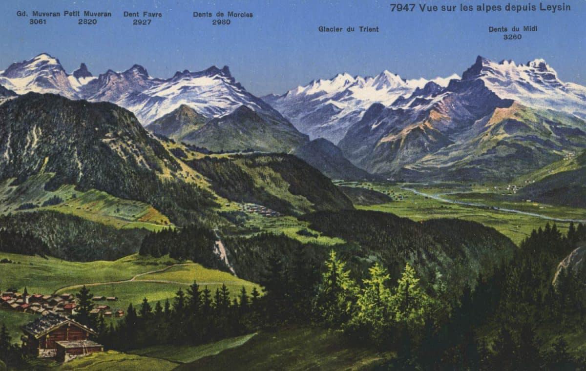 Vue sur les Alpes depuis Leysin © Phototypie Co., Neuchâtel